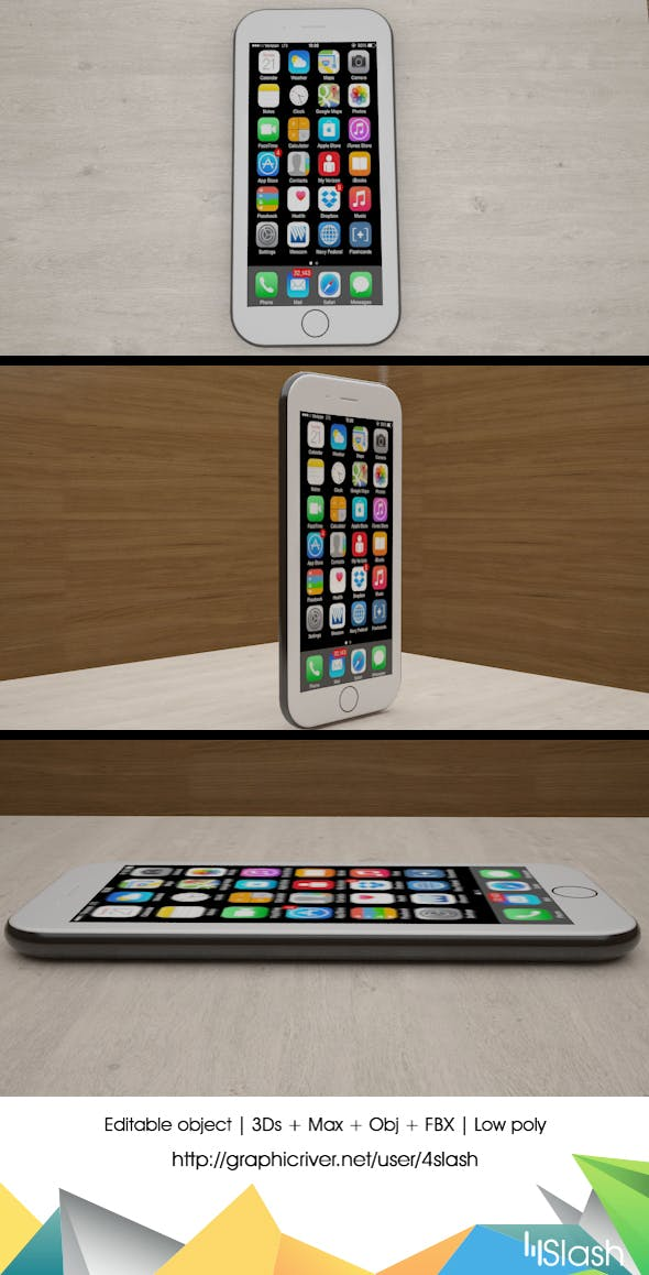 3d Low Poly iPhone 6 - 3DOcean Item for Sale
