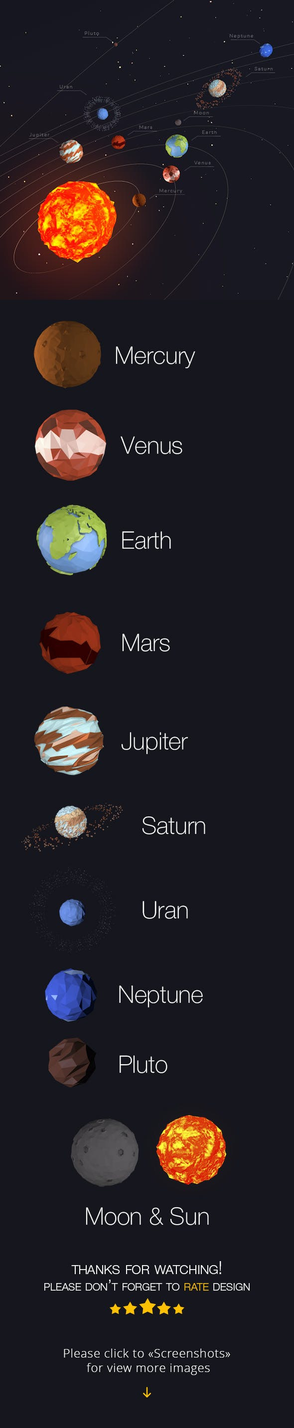 Low Poly Solar System - 3DOcean Item for Sale