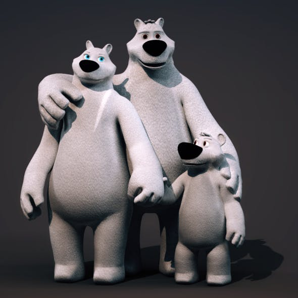 Polar Bear Family - Rigged Cartoon 3D Characters