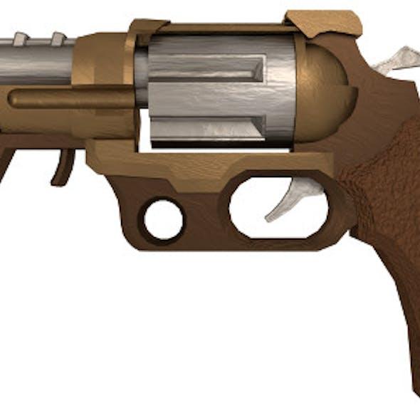 Medium-Poly Steampunk Pistol