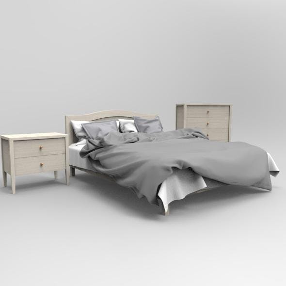 Gray_Bed - 3DOcean Item for Sale