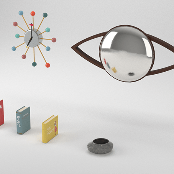 Low Poly Vintage 50s Interior Decorations