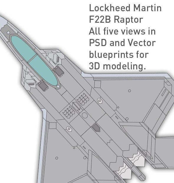 Lockheed F22 B Raptor blueprints for 3D modeling - 3DOcean Item for Sale