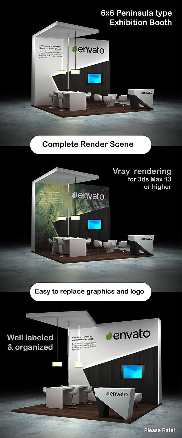 Exhibition Booth - Peninsula 6x6 - 3DOcean Item for Sale