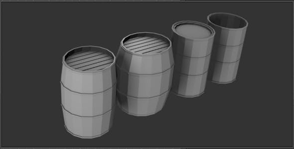 4 Low Poly Barrels - 3DOcean Item for Sale