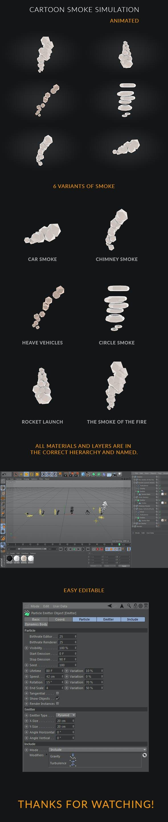6 Cartoon Smoke Simulation - 3DOcean Item for Sale