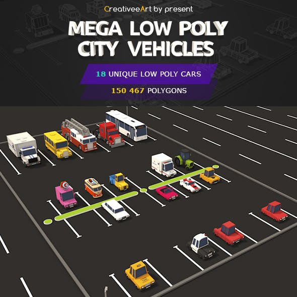 Mega Low Poly City Vehicles Pack