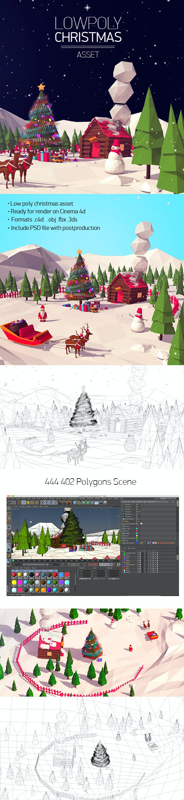 Low Poly Christmas Asset - 3DOcean Item for Sale