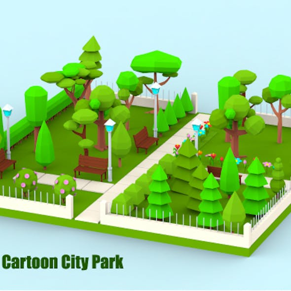 Low Poly Cartoon City Park