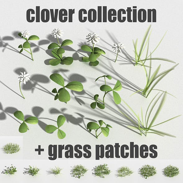 clover collection with gras patches R-assets