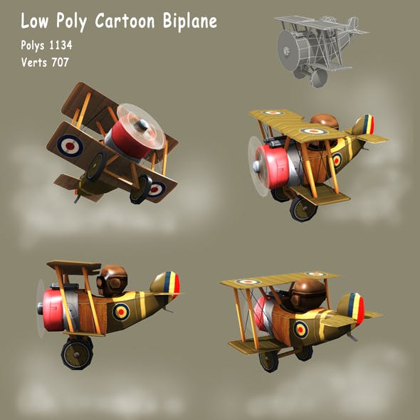 Low poly Cartoon WW1 Biplane - 3DOcean Item for Sale