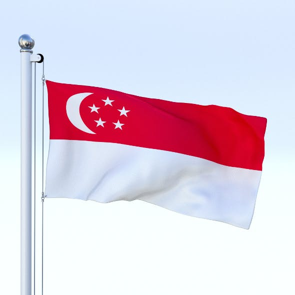 Animated Singapore Flag - 3DOcean Item for Sale