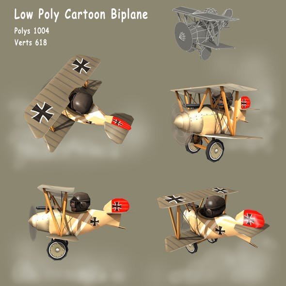 Low poly WW1 Cartoon Biplane - Albatros