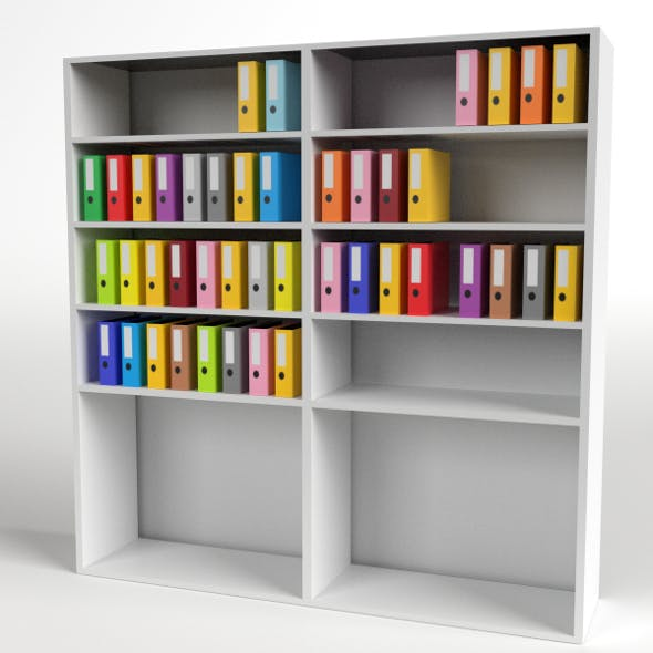 Office Shelf with Ring Binder and Folders