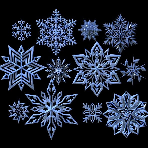 12 Pack of 3D Snowflakes