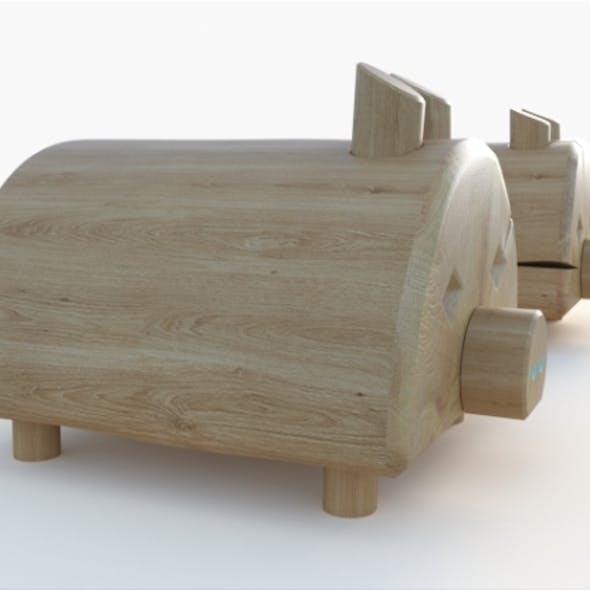 pig wooden playground equipment Set 3D