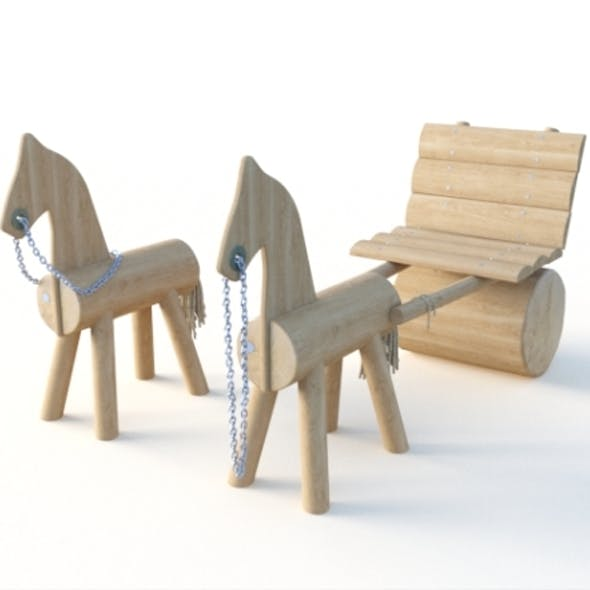 Wooden play equipment for playground - horses Set