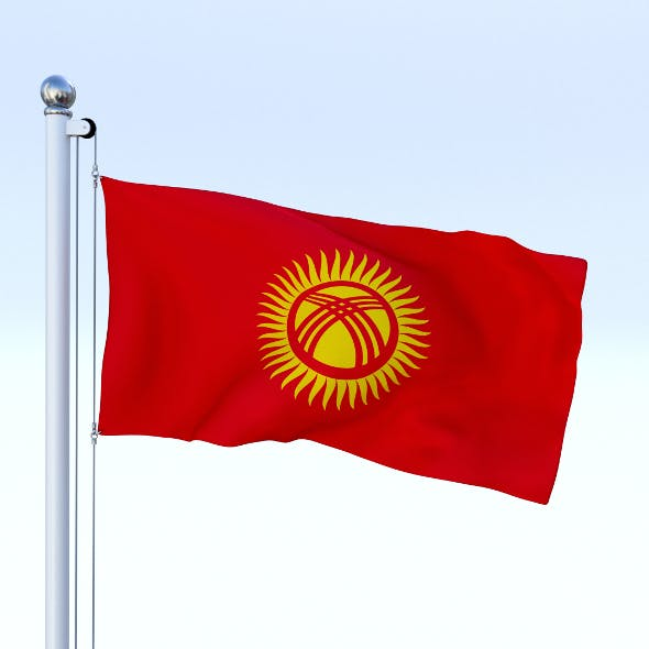 Animated Kyrgyzstan Flag - 3DOcean Item for Sale
