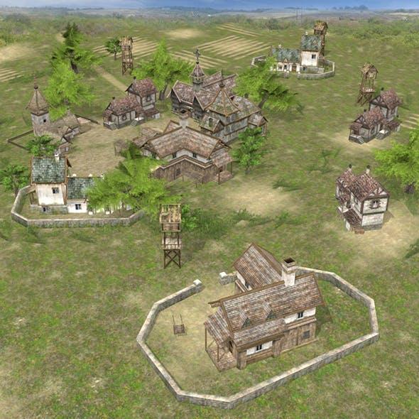 Realistic Village Scene - 3DOcean Item for Sale