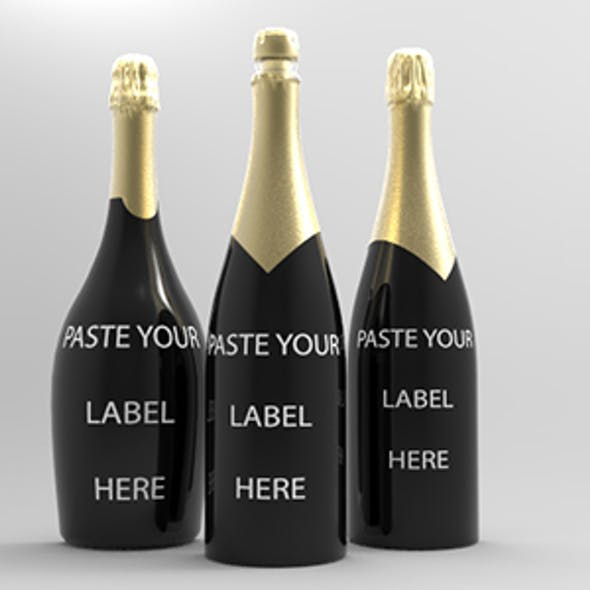 Champagne Bottle For Presentation Mockup