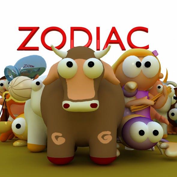 12 Zodiac Cartoon Models