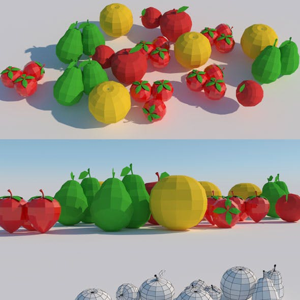 Low Poly Fruits Model
