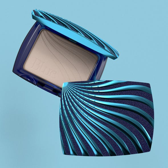 Cosmetic Product Packaging Blue Powder Case