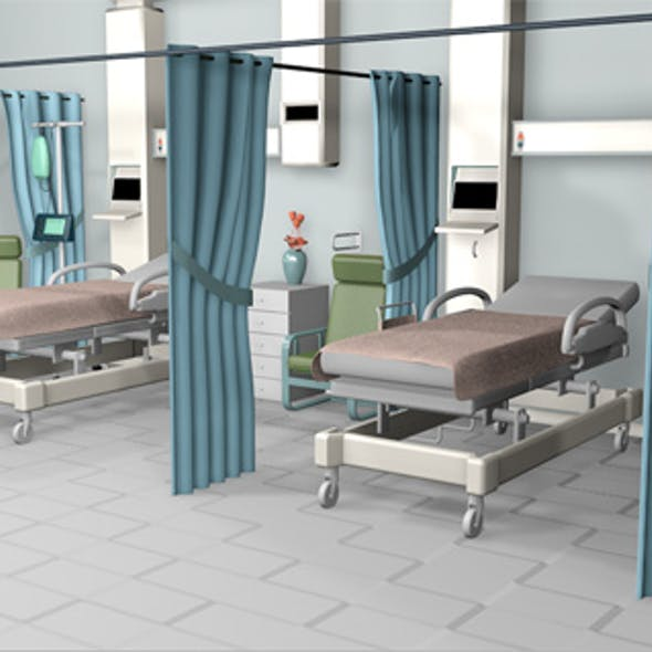 Hospital room and corridor