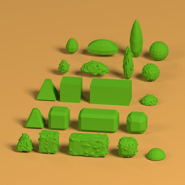 Low Poly Shrubs