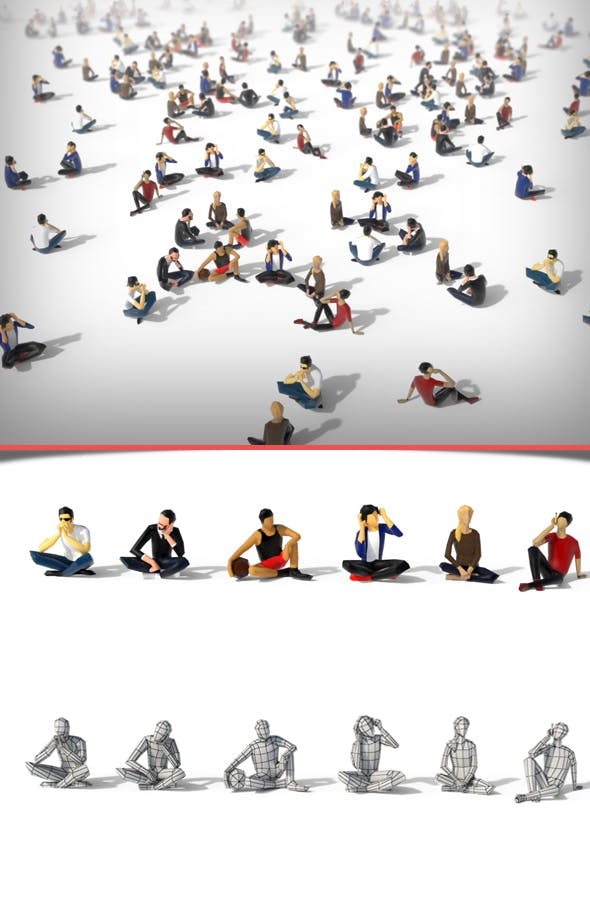Low Poly People Sit - 3DOcean Item for Sale