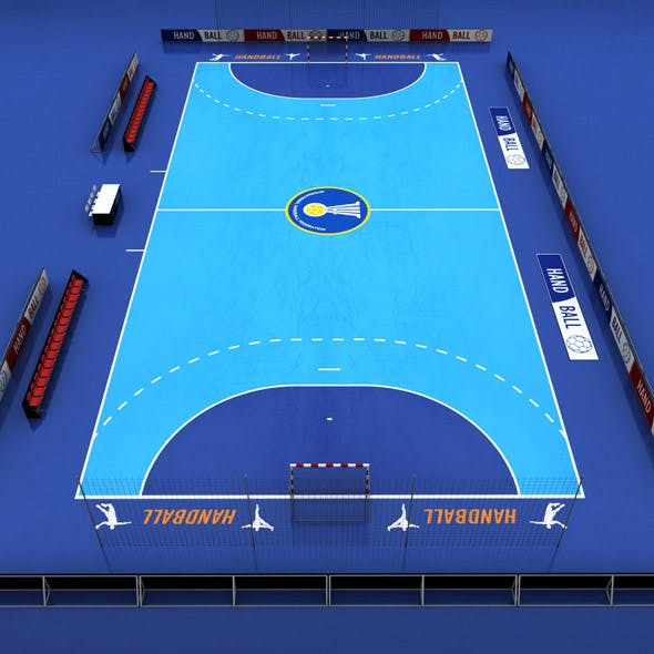 Handball court arena low poly