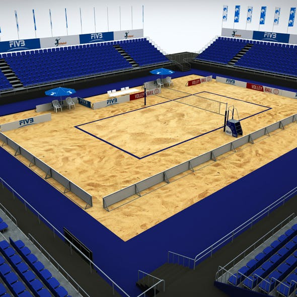 Volleyball beach court stadium high detail