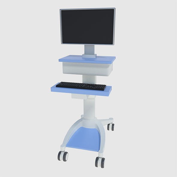Medical Computer Cart - Low and High Poly - 3DOcean Item for Sale