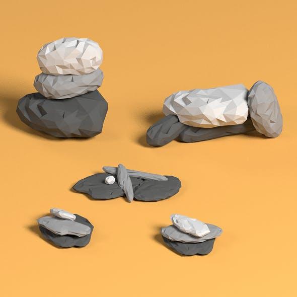 Low poly rock piles