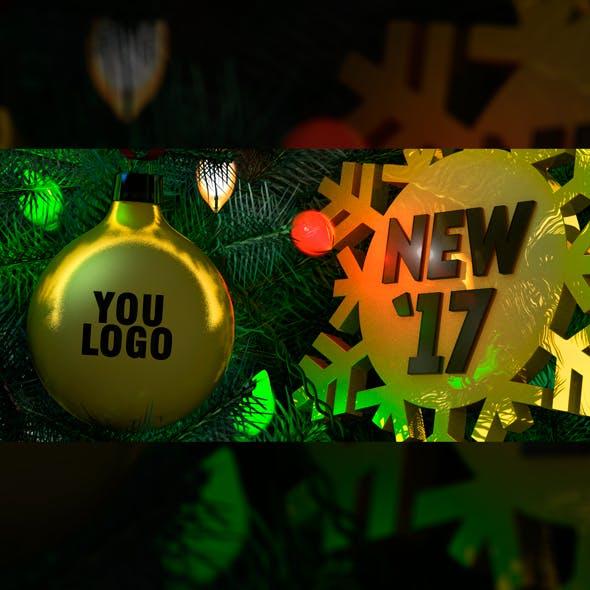 New Year 2017 Christmas card. Bulb. Logo
