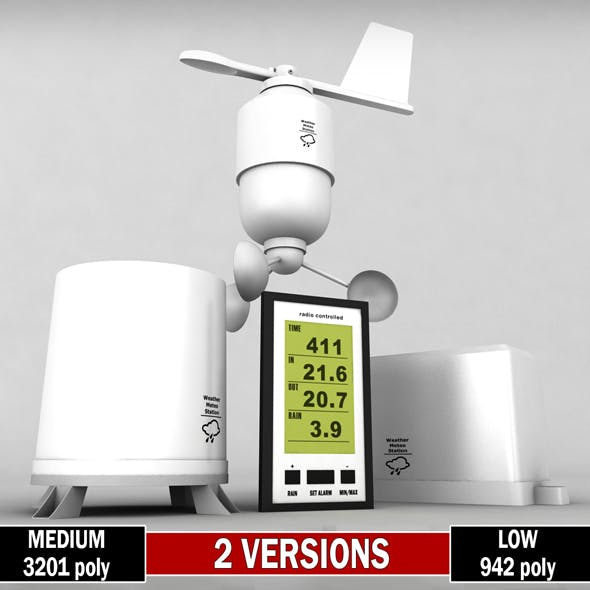 Weather meteo station wireless set pack low poly