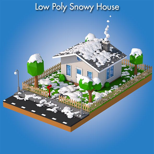 Low Poly Snowy House