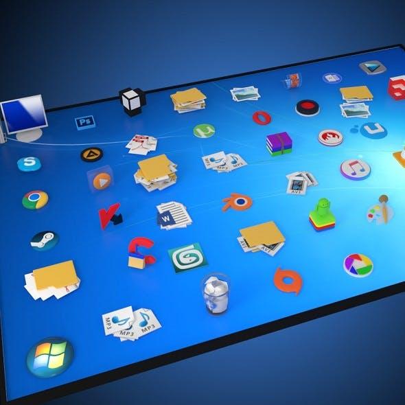 windows desktop icons in 3d