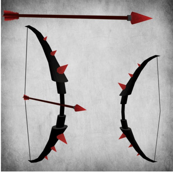 Bow and Arrow low poly - 3DOcean Item for Sale