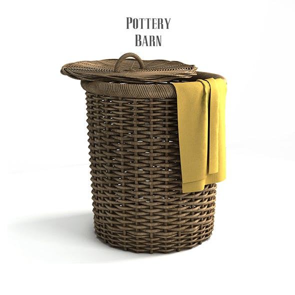 Pottery barn, Round Perry Wicker Basket Hamper Havana Weave.