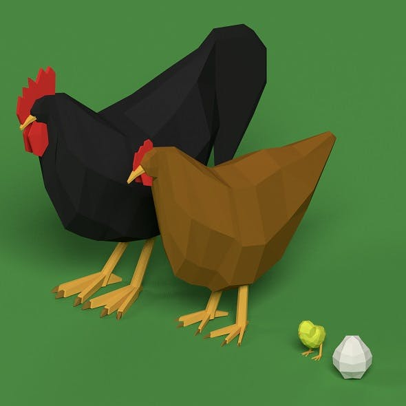 Low Poly Rooster, hen, chicken, egg set