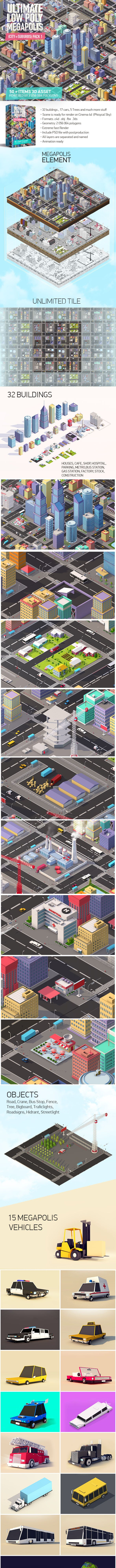 Ultimate Low Poly Megapolis (City + Suburbs) Pack 1 - 3DOcean Item for Sale
