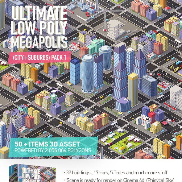 Ultimate Low Poly Megapolis (City + Suburbs) Pack 1