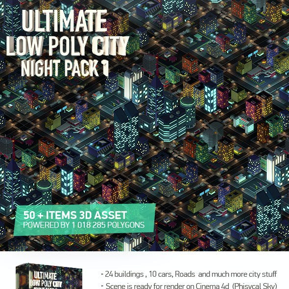 Ultimate Low Poly City Night Pack 1