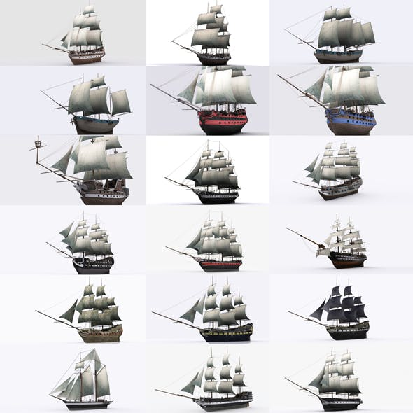 17 sailing ship - 3DOcean Item for Sale