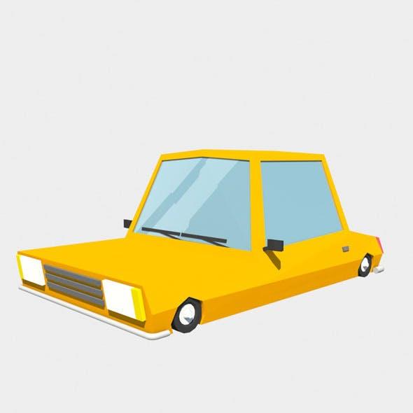 orange car low poly