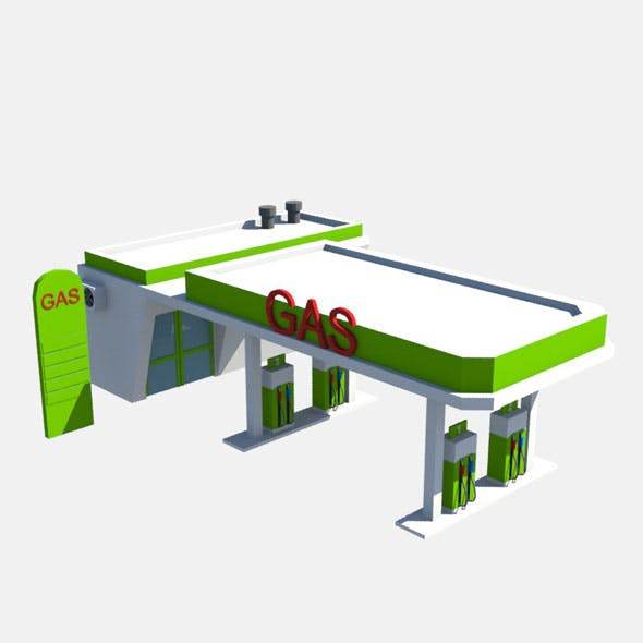 low poly gas station - 3DOcean Item for Sale