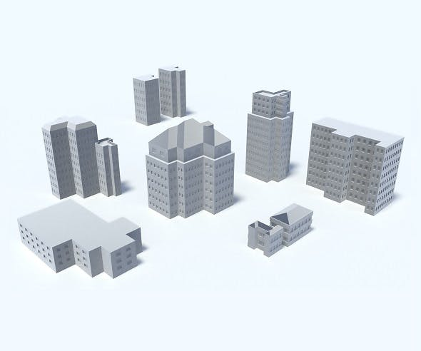 9 Buildings, Skyscrapers, Set - 3DOcean Item for Sale