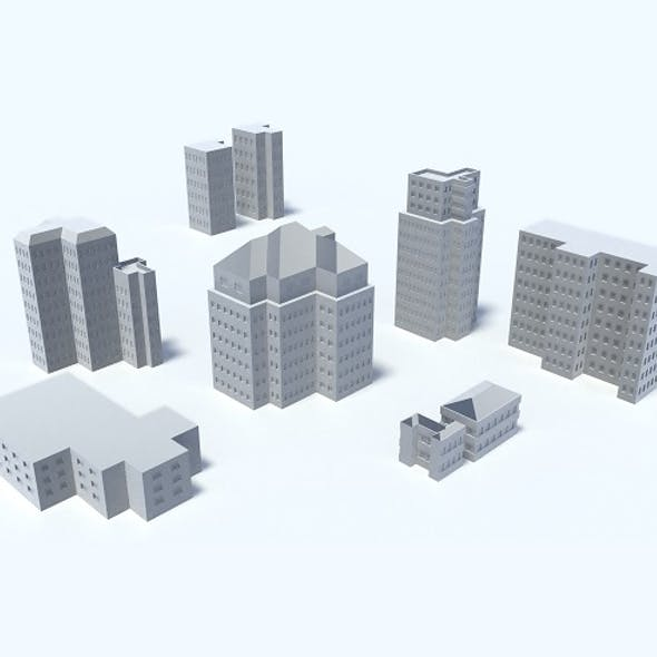 9 Buildings, Skyscrapers, Set