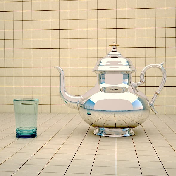 Moroccan teapot and Glass Cup - 3DOcean Item for Sale